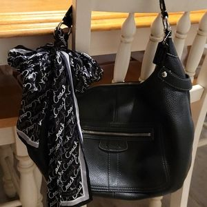 Coach Leather Hobo Bag with Silk Scarf